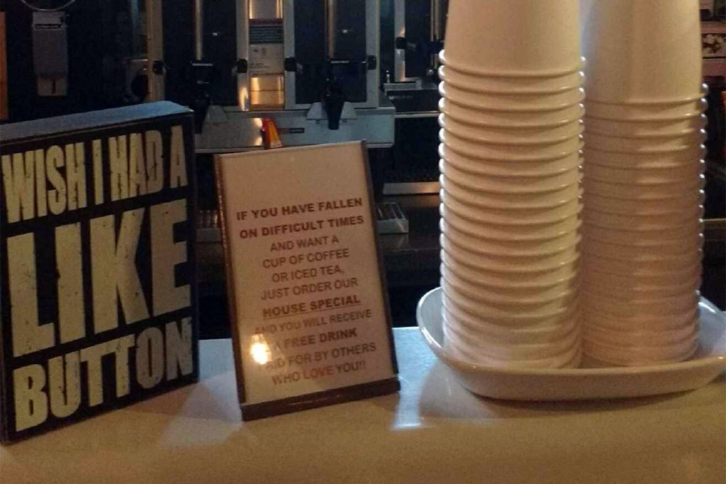 house special cups with sign